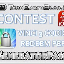 "Oggi apriamo un nuovo Contest che si chiuderà  Martedì 11 Settembre 2012. Questo Contest mette in palio 3 codici redeem per l'applicazione ""GeneratorPass"" per iOS (iPhone, iPad, iPod touch) disponibile su App Store al prezzo di 0,79 €.  I vincitori […]"
